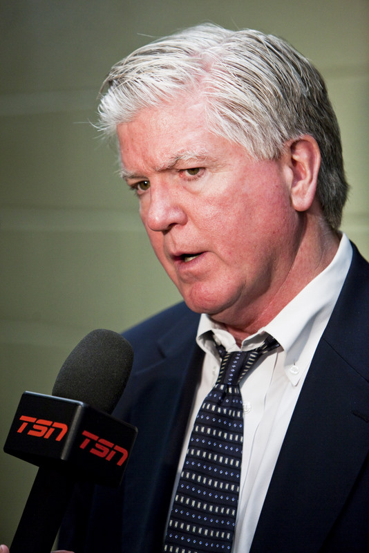 Calgary Flames Director of Hockey Ops, Brian Burke. Image courtesy of Wikimedia Commons.