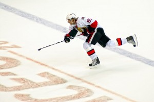 Erik Karlsson blasting a shot from the point. Image Courtesy of Flickr. Photograph by Clyde.