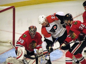 Nik Khabibulin in goal for the Chicago Blackhawks. Image courtesy of Wikipedia Commons.