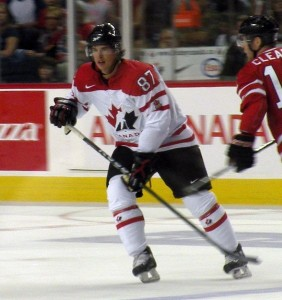 Sidney Crosby in Team Canada white and red. Image courtesy of Wikipedia Commons.