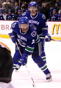 The Sedins setting up for a face-off. Image Courtesy of Wikipedia Commons.