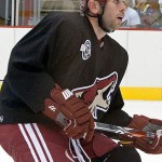 Keith Yandle practicing with the Phoenix Coyotes. Image courtesy of Wikimedia Commons.