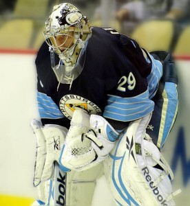 Pittsburgh Penguins goaltender Marc-Andre Fleury. Image courtesy of Wikimedia Commons.