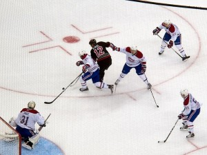 P. K. Subban stripping puck from Eric Staal. Image courtesy of Wikimedia Commons.