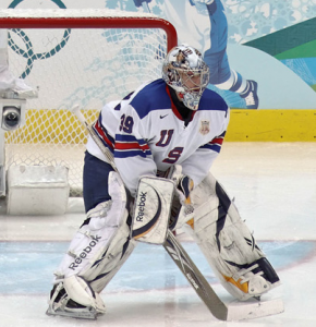 Ryan Miller in goal for Team USA at the 2010 Winter Olympics. Image courtesy of Wikimedia Commons.